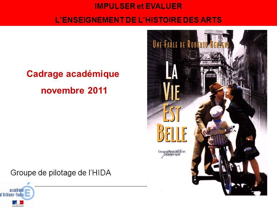 IMPULSER et EVALUER LENSEIGNEMENT DE LHISTOIRE DES ARTS Cadrage académique novembre 2011 Groupe de pilotage de lHIDA