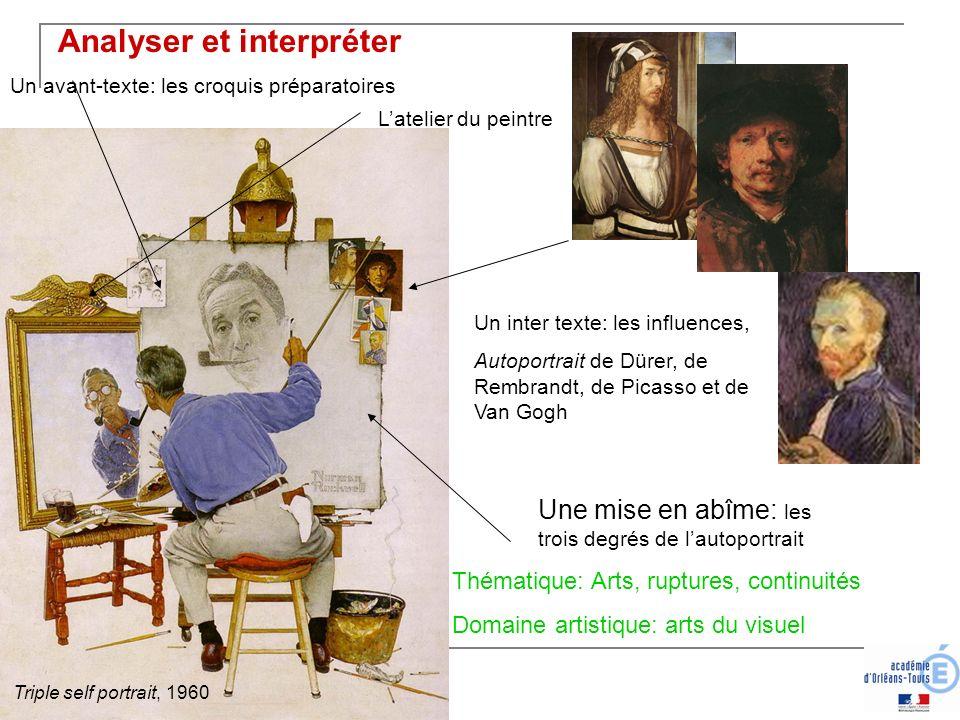 Un avant-texte: les croquis préparatoires Un inter texte: les influences, Autoportrait de Dürer, de Rembrandt, de Picasso et de Van Gogh Une mise en a