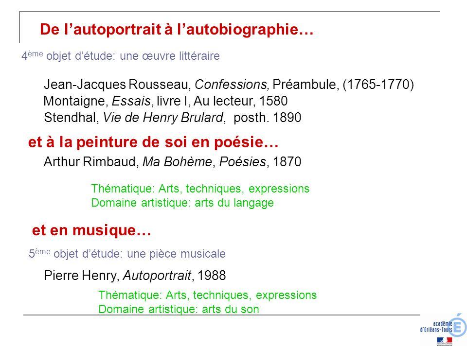 De lautoportrait à lautobiographie… et à la peinture de soi en poésie… Arthur Rimbaud, Ma Bohème, Poésies, 1870 et en musique… Pierre Henry, Autoportr