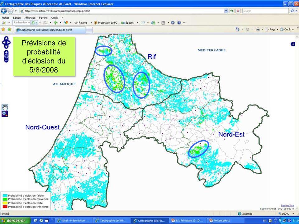 22 Prévisions de probabilité déclosion du 5/8/2008 Nord-Ouest Rif Nord-Est