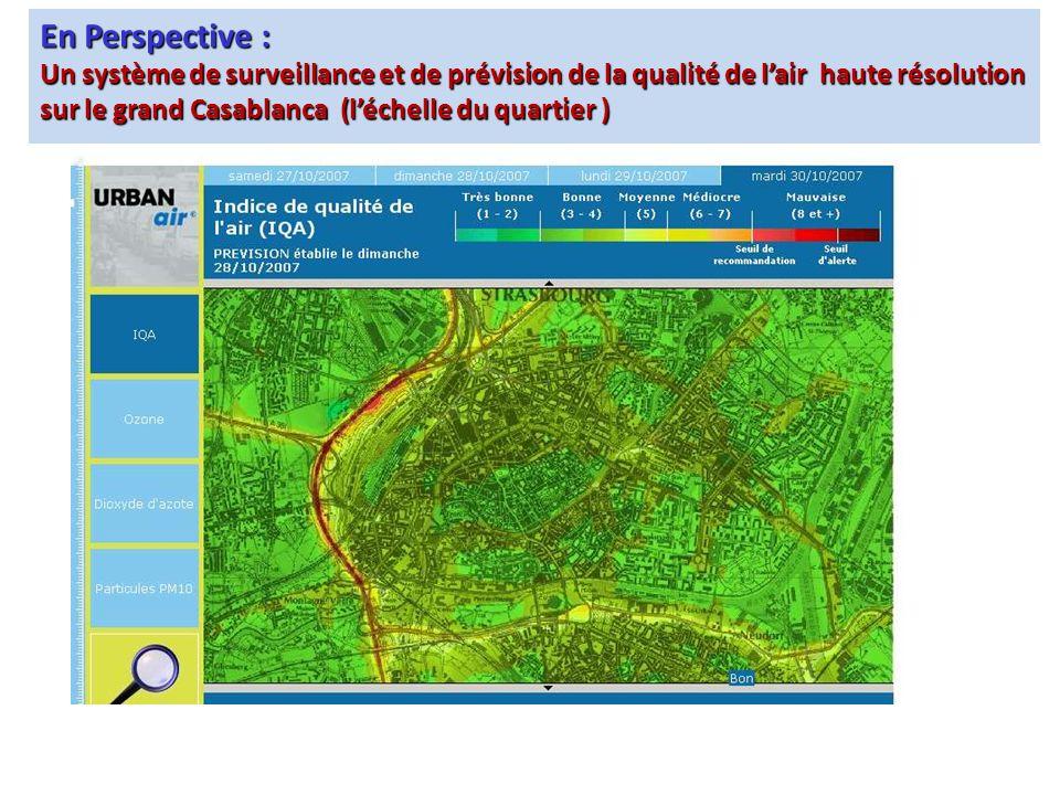 En Perspective : Un système de surveillance et de prévision de la qualité de lair haute résolution sur le grand Casablanca (léchelle du quartier )