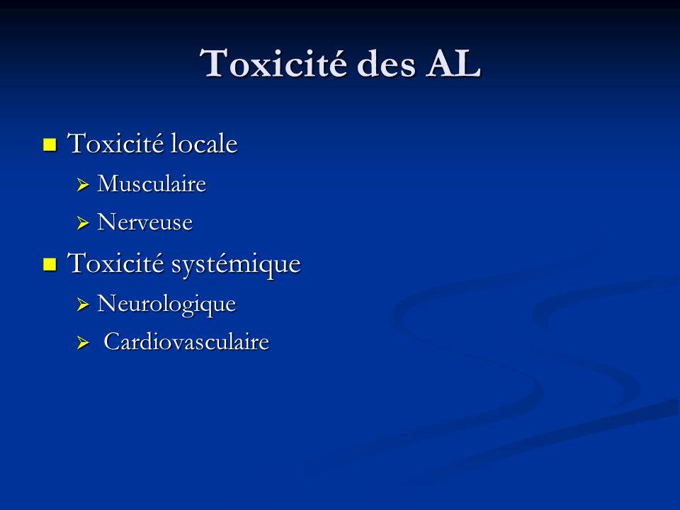 Toxicité des AL Toxicité locale Toxicité locale Musculaire Musculaire Nerveuse Nerveuse Toxicité systémique Toxicité systémique Neurologique Neurologi