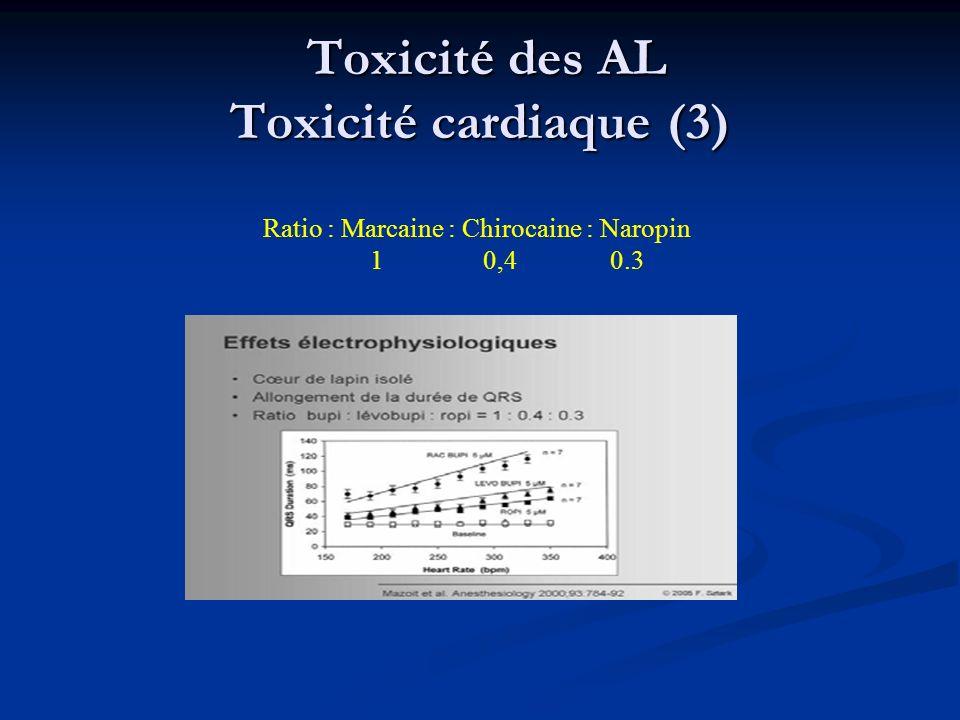 Toxicité des AL Toxicité cardiaque (3) Toxicité des AL Toxicité cardiaque (3) Ratio : Marcaine : Chirocaine : Naropin 1 0,4 0.3