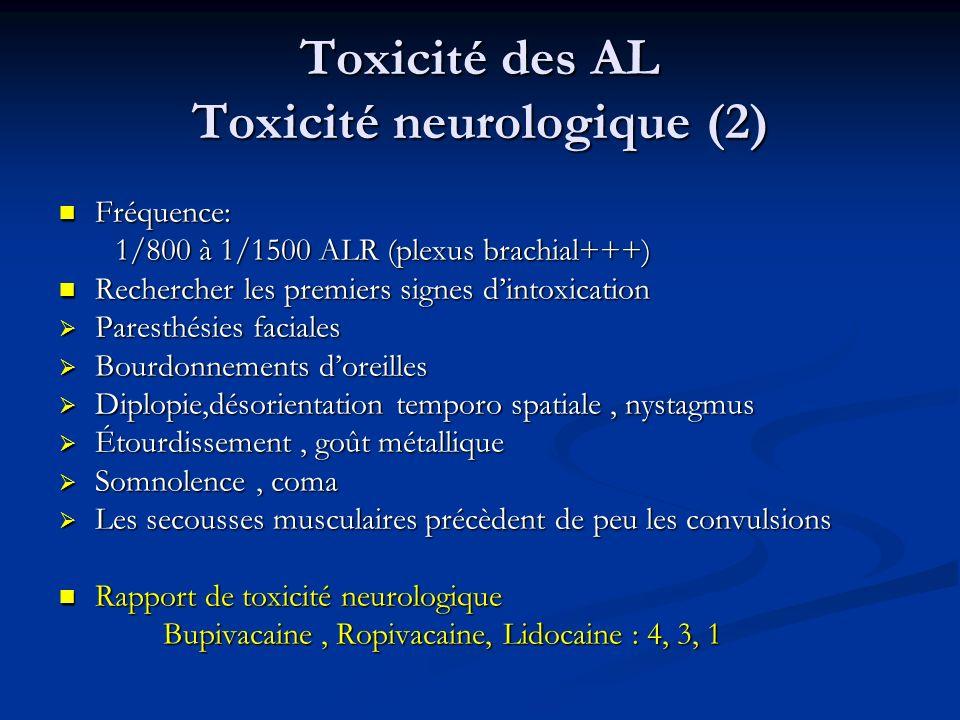 Toxicité des AL Toxicité neurologique (2) Fréquence: Fréquence: 1/800 à 1/1500 ALR (plexus brachial+++) 1/800 à 1/1500 ALR (plexus brachial+++) Recher