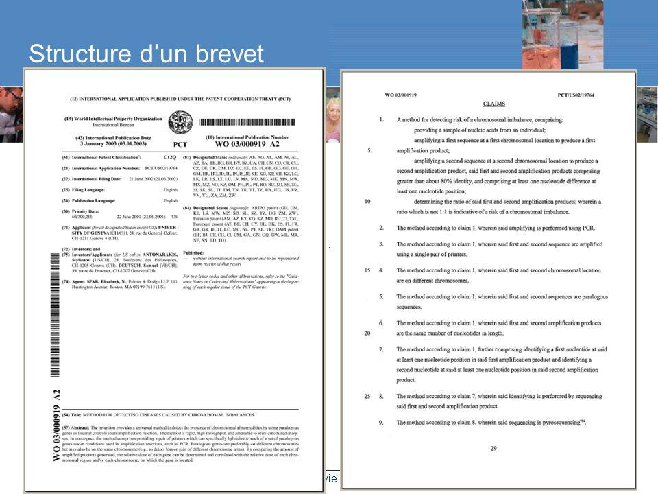 Brevets dans les sciences de la vie – 9 décembre 2005 – Raluca Flükiger Structure dun brevet