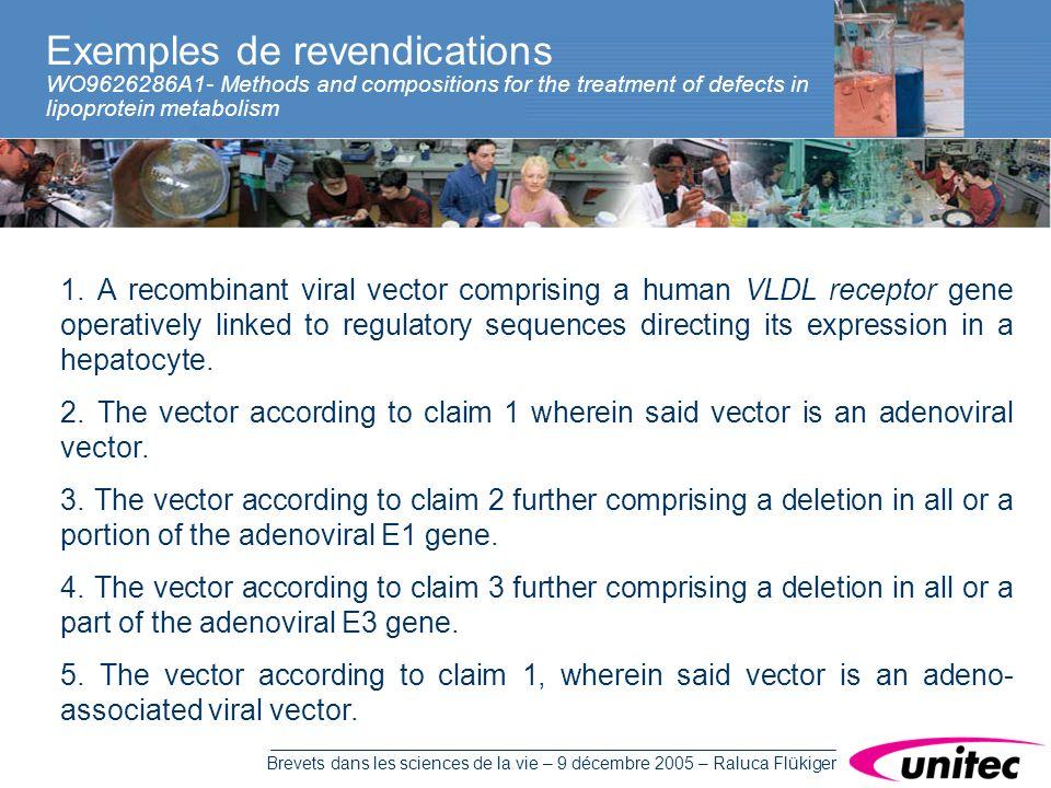 Brevets dans les sciences de la vie – 9 décembre 2005 – Raluca Flükiger Exemples de revendications WO9626286A1- Methods and compositions for the treatment of defects in lipoprotein metabolism 1.
