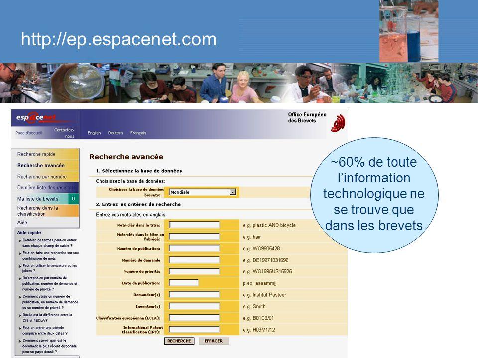 Brevets dans les sciences de la vie – 9 décembre 2005 – Raluca Flükiger http://ep.espacenet.com ~60% de toute linformation technologique ne se trouve que dans les brevets