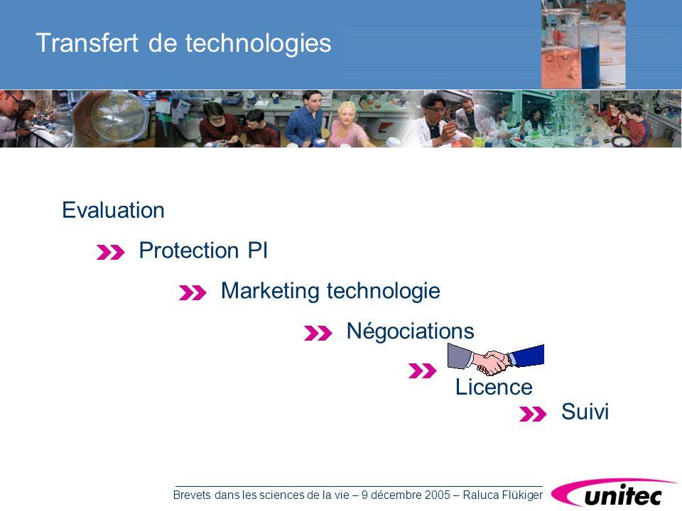 Brevets dans les sciences de la vie – 9 décembre 2005 – Raluca Flükiger Transfert de technologies Evaluation Protection PI Marketing technologie Négociations Suivi Licence