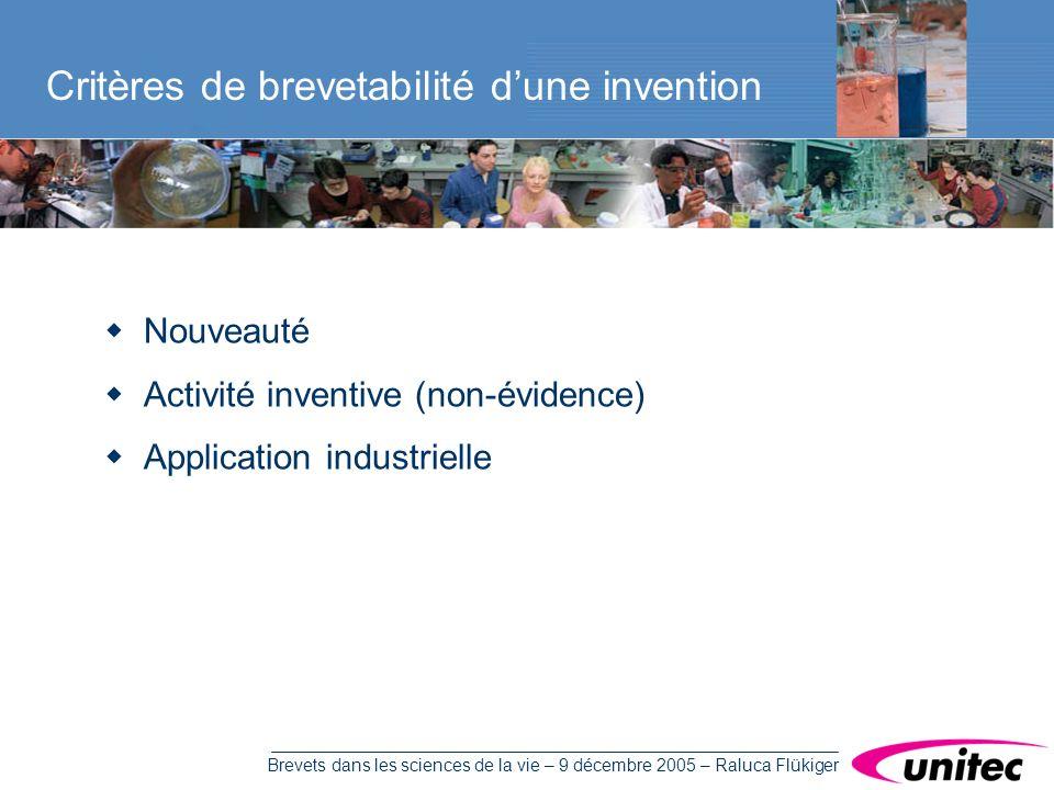 Brevets dans les sciences de la vie – 9 décembre 2005 – Raluca Flükiger Nouveauté Activité inventive (non-évidence) Application industrielle Critères de brevetabilité dune invention