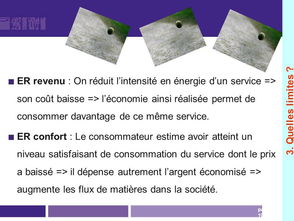 page 103 ER revenu : On réduit lintensité en énergie dun service => son coût baisse => léconomie ainsi réalisée permet de consommer davantage de ce mê