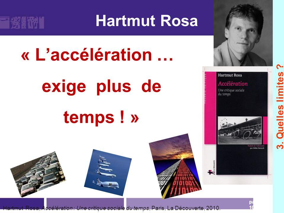 Hartmut Rosa « Laccélération … exige plus de temps ! » page 105 Hartmut Rosa, Accélération : Une critique sociale du temps, Paris, La Découverte, 2010