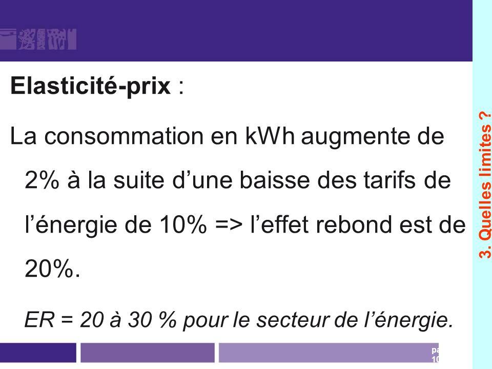 Mesures dun effet rebond Elasticité-prix : La consommation en kWh augmente de 2% à la suite dune baisse des tarifs de lénergie de 10% => leffet rebond