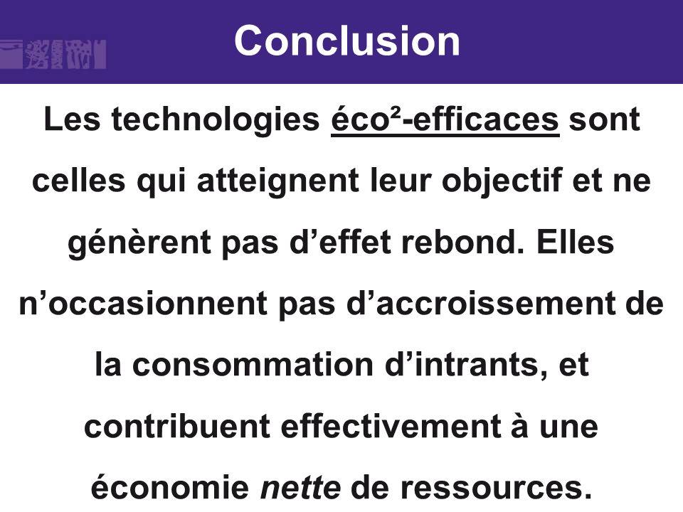 Conclusion Les technologies éco²-efficaces sont celles qui atteignent leur objectif et ne génèrent pas deffet rebond. Elles noccasionnent pas daccrois