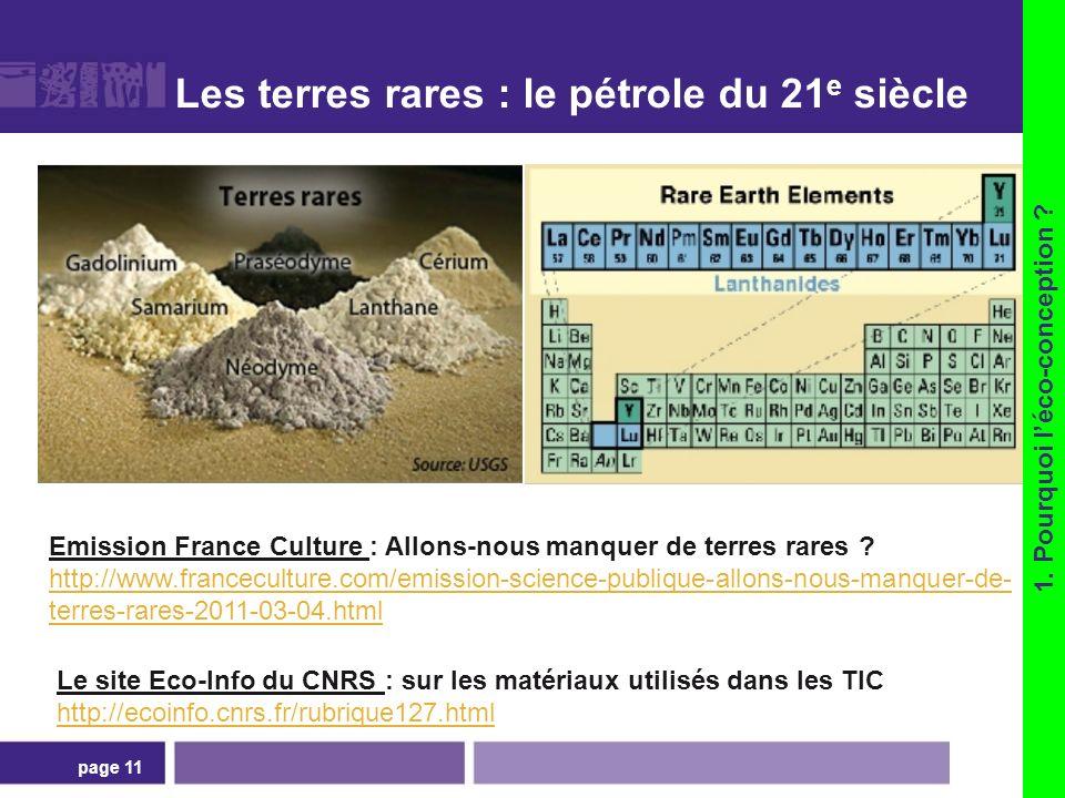 Les terres rares : le pétrole du 21 e siècle page 11 Emission France Culture : Allons-nous manquer de terres rares ? http://www.franceculture.com/emis