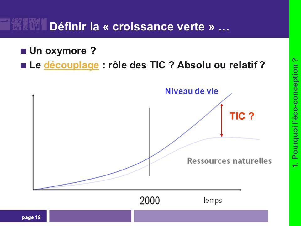 page 18 Définir la « croissance verte » … Un oxymore ? Le découplage : rôle des TIC ? Absolu ou relatif ?découplage 1. Pourquoi léco-conception ? TIC