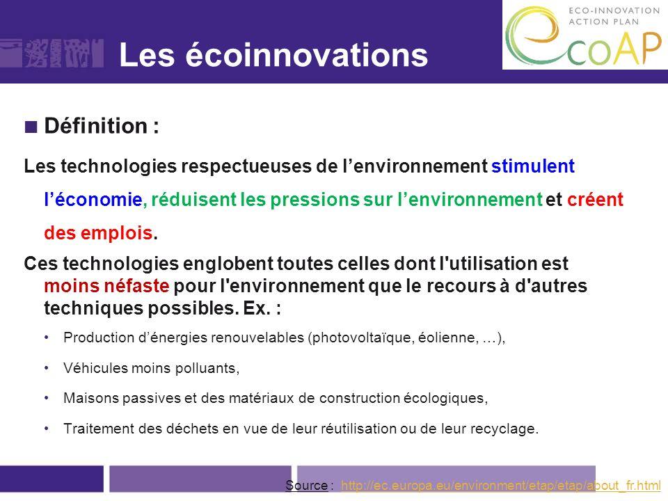 Léco-innovation Définition : Les technologies respectueuses de lenvironnement stimulent léconomie, réduisent les pressions sur lenvironnement et créen