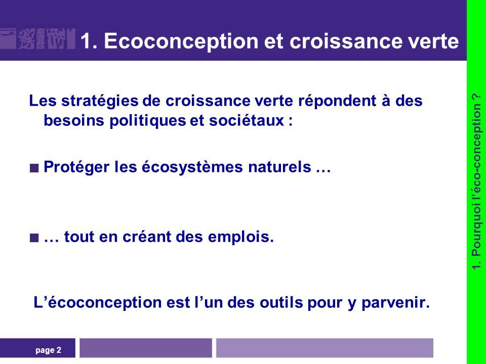 page 2 1. Ecoconception et croissance verte Les stratégies de croissance verte répondent à des besoins politiques et sociétaux : Protéger les écosystè