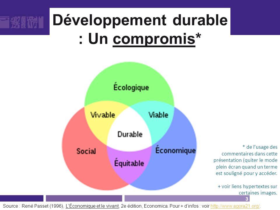 Développement durable : Un compromis* Source : René Passet (1996), LÉconomique et le vivant, 2e édition, Economica. Pour + dinfos : voir http://www.ag