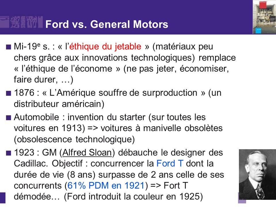 Ford vs. General Motors Mi-19 e s. : « léthique du jetable » (matériaux peu chers grâce aux innovations technologiques) remplace « léthique de léconom