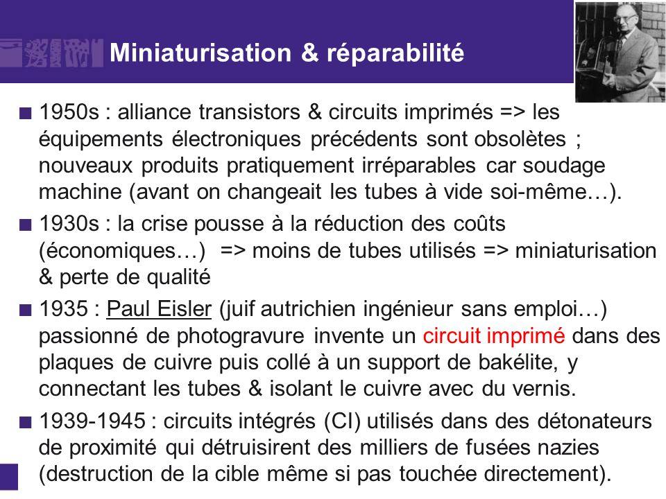 Miniaturisation & réparabilité 1950s : alliance transistors & circuits imprimés => les équipements électroniques précédents sont obsolètes ; nouveaux