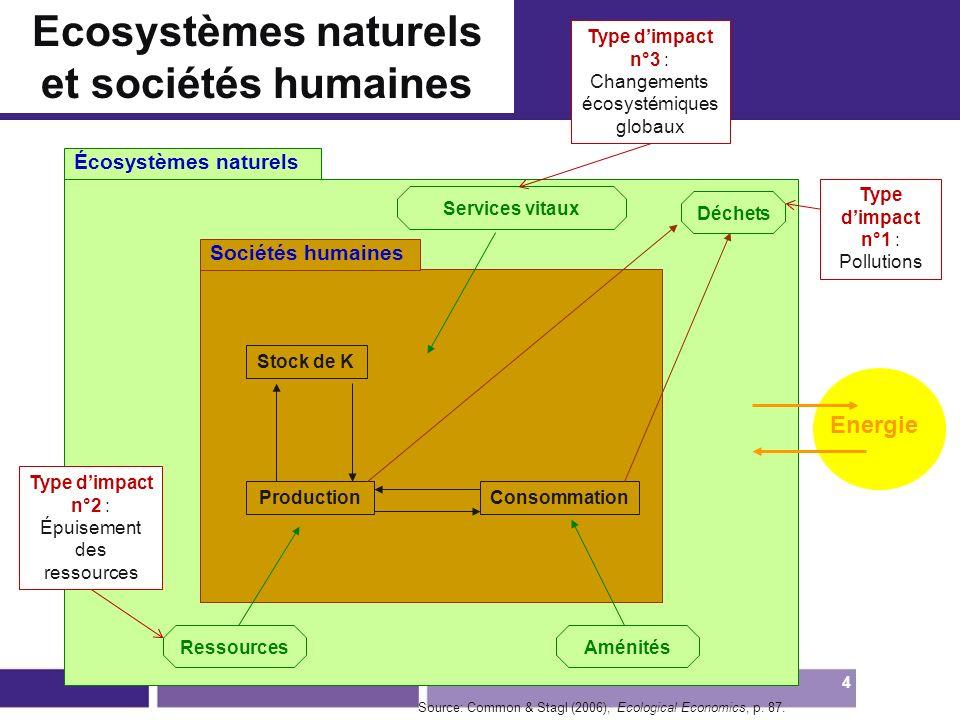 Écosystèmes naturels Sociétés humaines Services vitaux Déchets Stock de K ProductionConsommation RessourcesAménités Energie Source: Common & Stagl (20