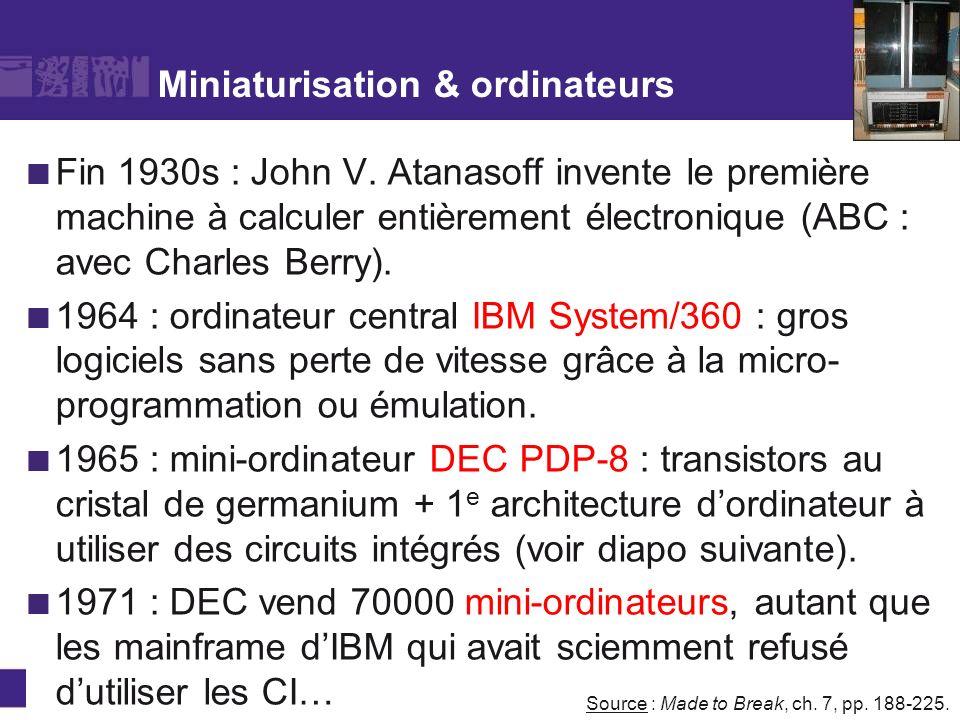 Miniaturisation & ordinateurs Fin 1930s : John V. Atanasoff invente le première machine à calculer entièrement électronique (ABC : avec Charles Berry)