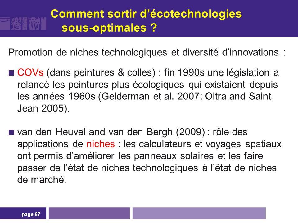 Comment sortir décotechnologies sous-optimales ? Promotion de niches technologiques et diversité dinnovations : COVs (dans peintures & colles) : fin 1