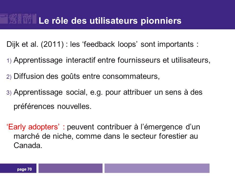 Le rôle des utilisateurs pionniers Dijk et al. (2011) : les feedback loops sont importants : 1) Apprentissage interactif entre fournisseurs et utilisa
