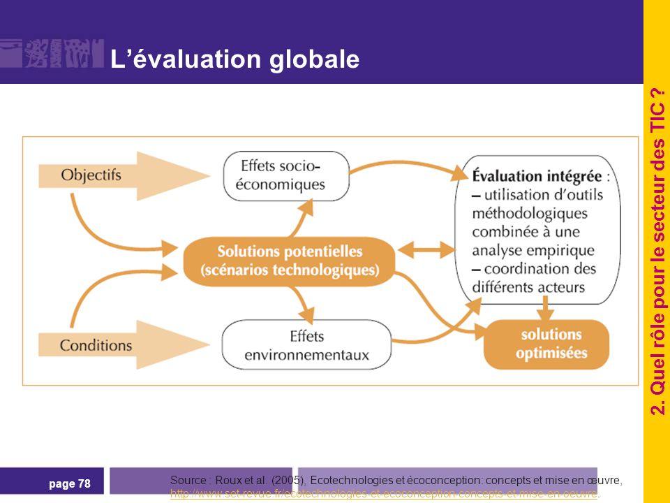 page 78 Lévaluation globale Source : Roux et al. (2005), Ecotechnologies et écoconception: concepts et mise en œuvre, http://www.set-revue.fr/ecotechn