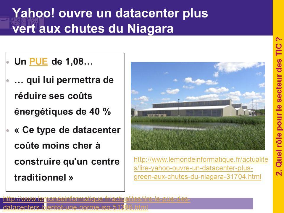 Yahoo! ouvre un datacenter plus vert aux chutes du Niagara Un PUE de 1,08…PUE … qui lui permettra de réduire ses coûts énergétiques de 40 % « Ce type