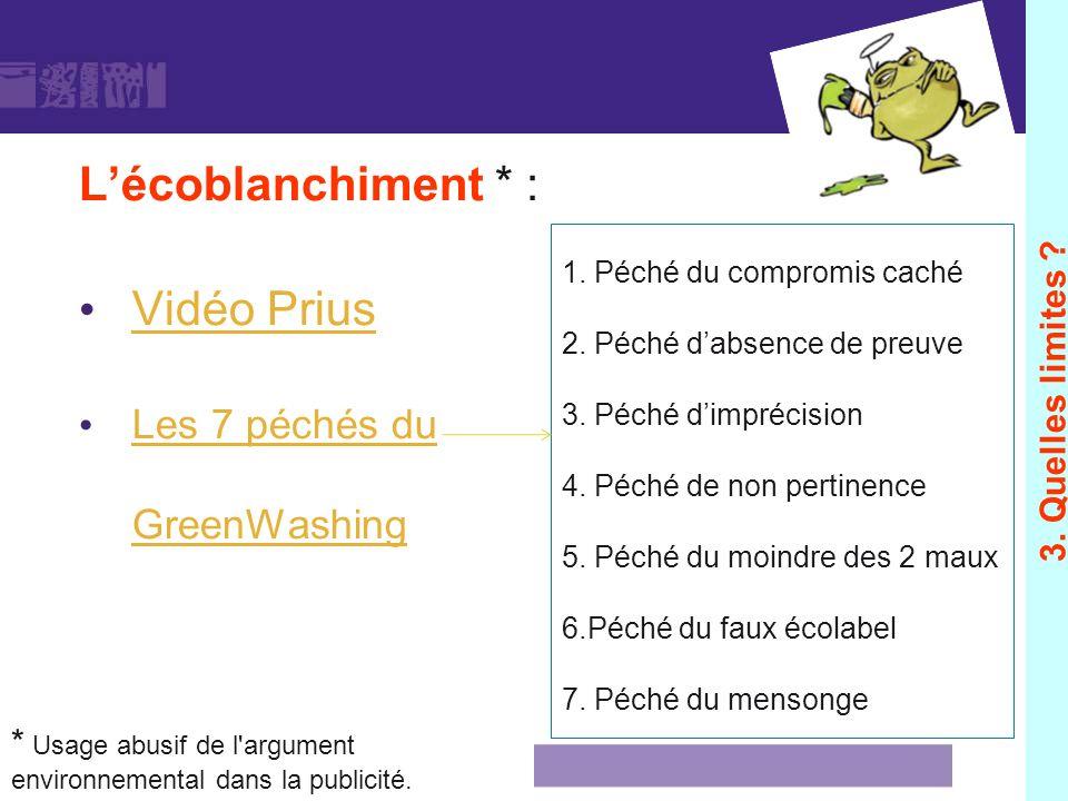 Lécoblanchiment * : Vidéo Prius Les 7 péchés du GreenWashing 1. Péché du compromis caché 2. Péché dabsence de preuve 3. Péché dimprécision 4. Péché de