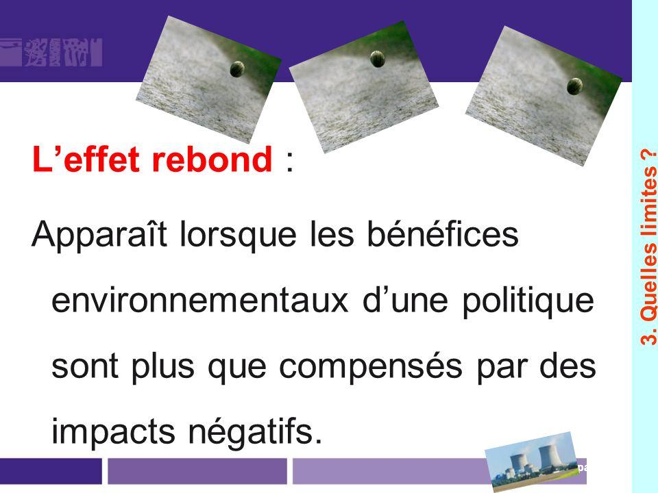 Leffet rebond : Apparaît lorsque les bénéfices environnementaux dune politique sont plus que compensés par des impacts négatifs. page 98 3. Quelles li