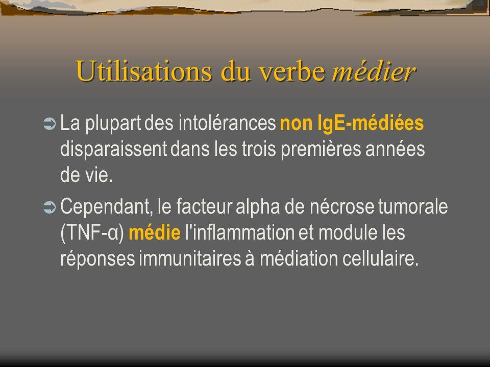 Utilisations du verbe médier La plupart des intolérances non IgE-médiées disparaissent dans les trois premières années de vie. Cependant, le facteur a