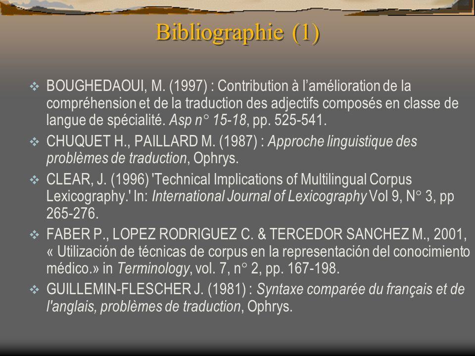 Bibliographie (1) BOUGHEDAOUI, M. (1997) : Contribution à lamélioration de la compréhension et de la traduction des adjectifs composés en classe de la