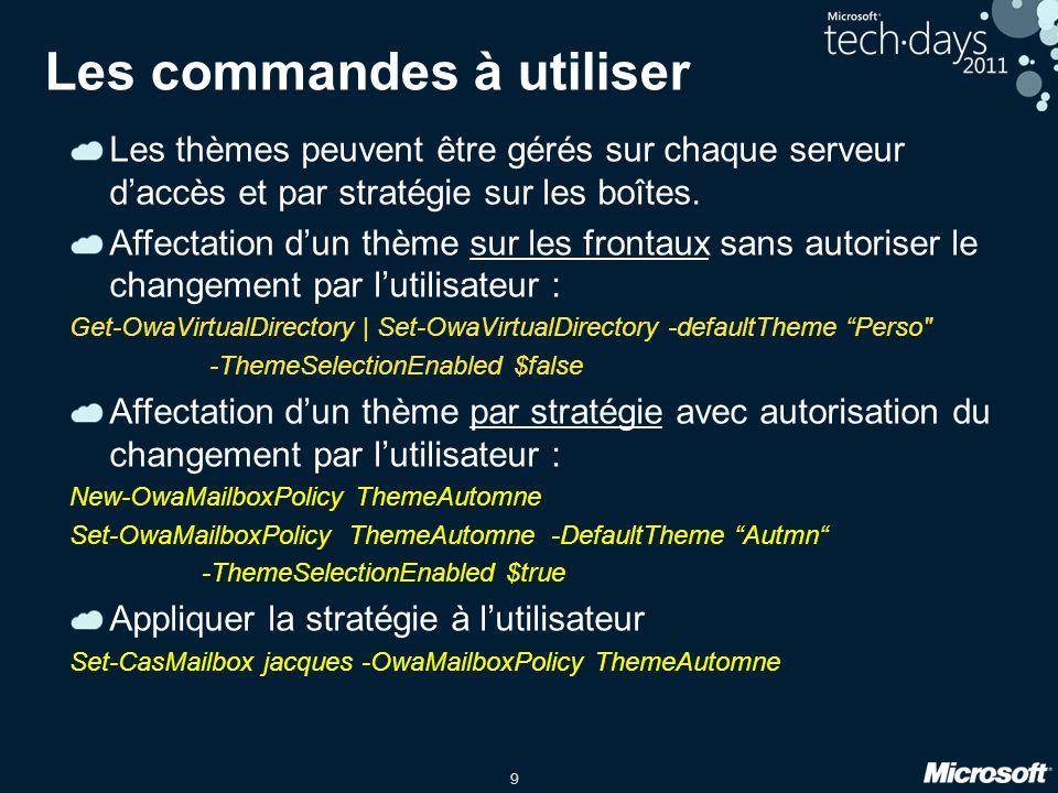 9 Les commandes à utiliser Les thèmes peuvent être gérés sur chaque serveur daccès et par stratégie sur les boîtes.