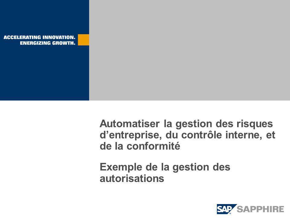 Automatiser la gestion des risques dentreprise, du contrôle interne, et de la conformité Exemple de la gestion des autorisations