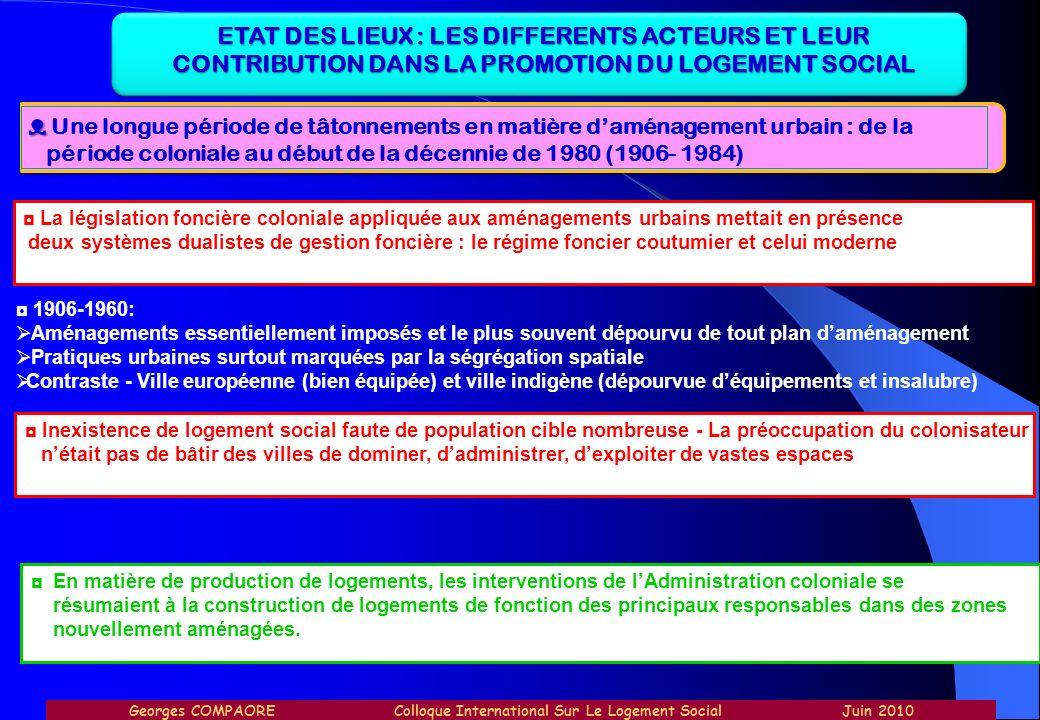ETAT DES LIEUX : LES DIFFERENTS ACTEURS ET LEUR CONTRIBUTION DANS LA PROMOTION DU LOGEMENT SOCIAL Une longue période de tâtonnements en matière daména