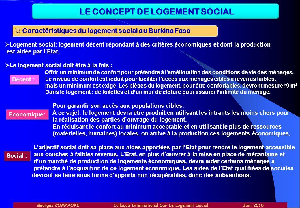 LE CONCEPT DE LOGEMENT SOCIAL Caractéristiques du logement social au Burkina Faso Logement social: logement décent répondant à des critères économique
