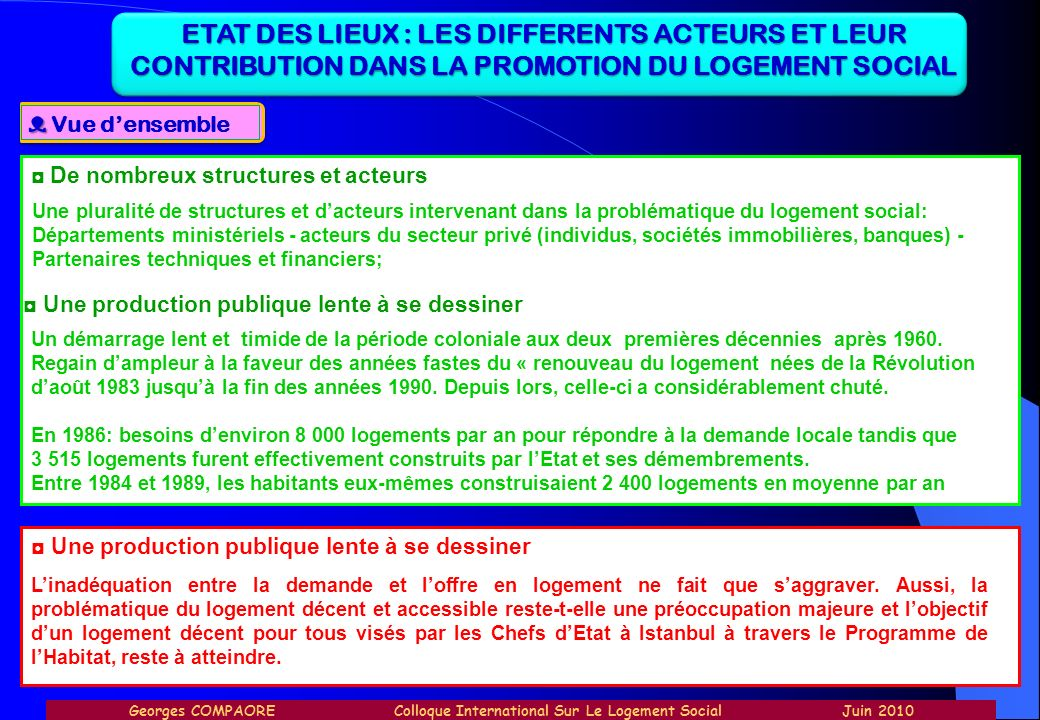 ETAT DES LIEUX : LES DIFFERENTS ACTEURS ET LEUR CONTRIBUTION DANS LA PROMOTION DU LOGEMENT SOCIAL Vue densemble De nombreux structures et acteurs Une
