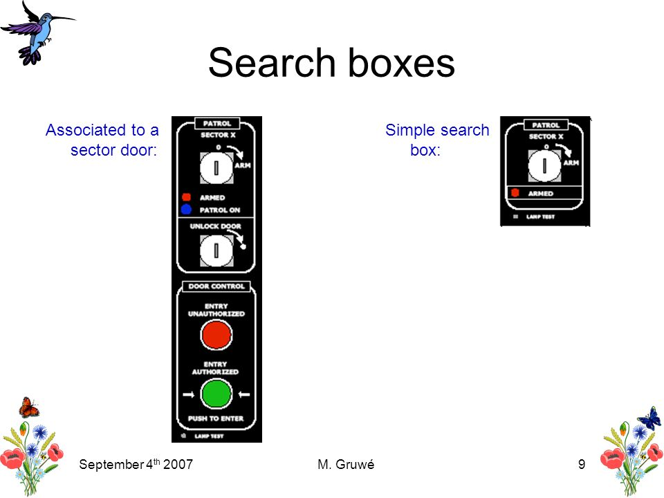 September 4 th 2007M. Gruwé9 Search boxes Associated to a sector door: Simple search box: