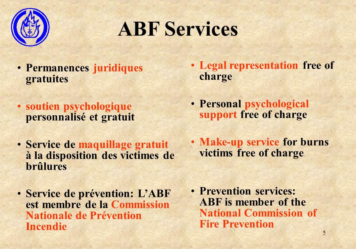 5 ABF Services Permanences juridiques gratuites soutien psychologique personnalisé et gratuit Service de maquillage gratuit à la disposition des victi