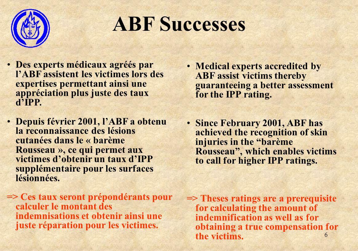 6 ABF Successes Des experts médicaux agréés par lABF assistent les victimes lors des expertises permettant ainsi une appréciation plus juste des taux dIPP.