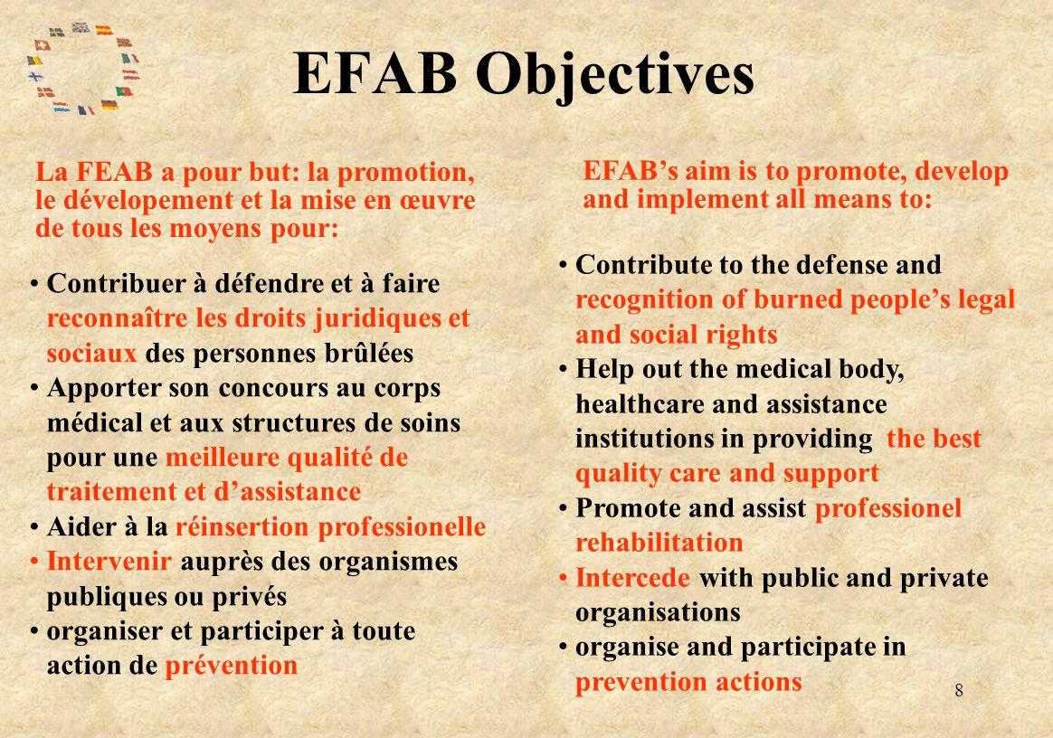 8 EFAB Objectives La FEAB a pour but: la promotion, le dévelopement et la mise en œuvre de tous les moyens pour: EFABs aim is to promote, develop and