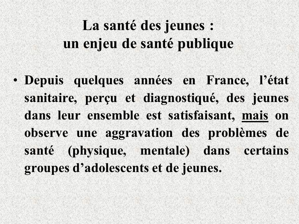 La santé des jeunes : un enjeu de santé publique Depuis quelques années en France, létat sanitaire, perçu et diagnostiqué, des jeunes dans leur ensemb