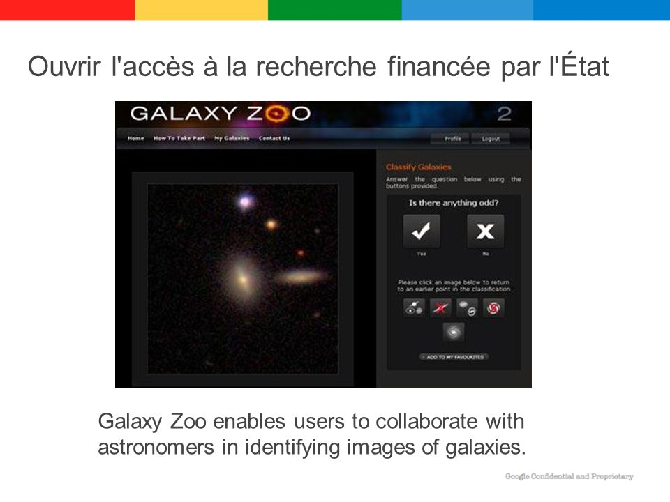 Ouvrir l accès à la recherche financée par l État Galaxy Zoo enables users to collaborate with astronomers in identifying images of galaxies.