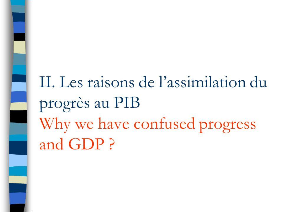 II. Les raisons de lassimilation du progrès au PIB Why we have confused progress and GDP ?