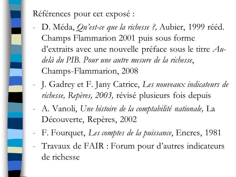 Références pour cet exposé : -D.Méda, Quest-ce que la richesse ?, Aubier, 1999 rééd.