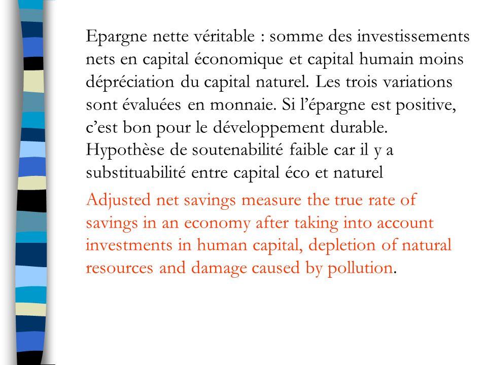 Epargne nette véritable : somme des investissements nets en capital économique et capital humain moins dépréciation du capital naturel.