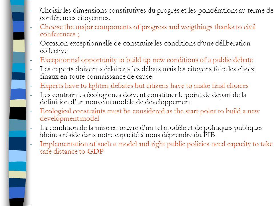 -Choisir les dimensions constitutives du progrès et les pondérations au terme de conférences citoyennes.
