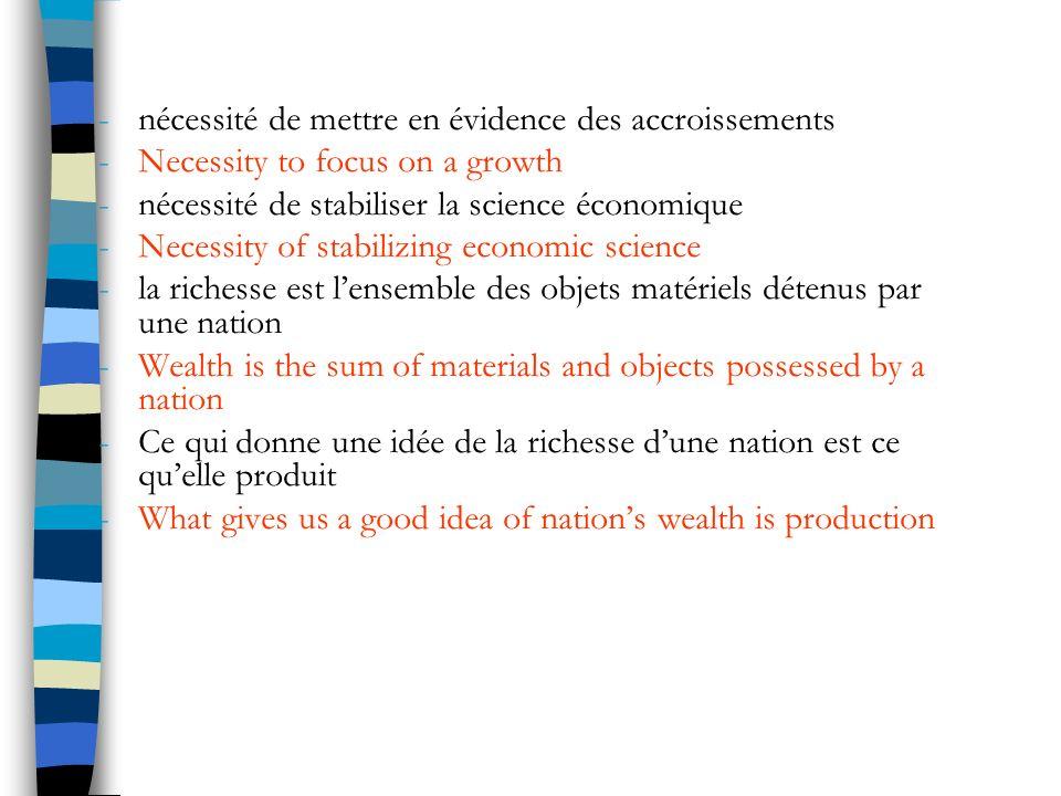 Linvention de la comptabilité nationale The invention of national accounting -Début des années 40, mise en place du PNB, pour faciliter la programmation budgétaire des pays en temps de guerre.